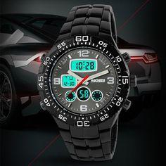 17f83a69e51 Aliexpress.com   Buy relogio masculino digital skmei male black steel watch  sport analog digital watch waterproof relogio masculino digital skmei from  ...