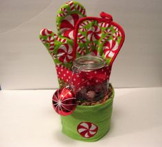 Peppermint Holiday Kitchen Towel Cake. $30.00, via Etsy.