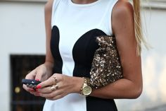 sequined gold clutch