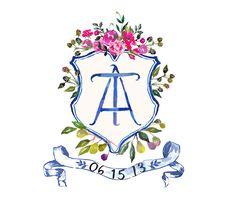 Family Crest / Heraldry / Wedding Crest / Coat of Arms Watercolor monogram crest