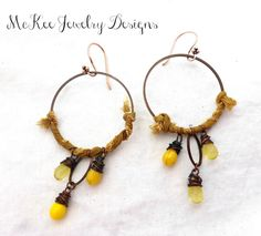 Czech glass and Sari silk and copper hoop earrings. .