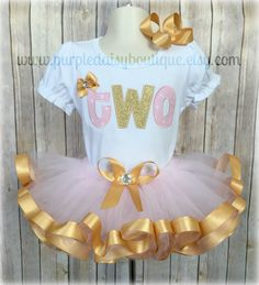 Custom Second Birthday Pink and Gold Ribbon by PurpleDaisyBoutique