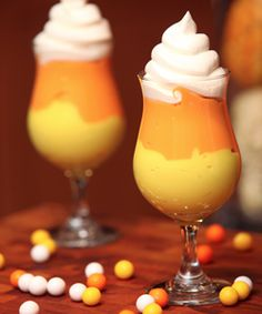 tasty pudding parfait for Halloween. Reminiscent of the classic candy corn treat, this treat is simply just vanilla pudding spiced up a bit for the holiday.     Decorate your pudding parfaits with candies, sprinkles or spooktacular little spiders. Serve them in large parfait glasses, or even in little shot glasses as mini treats.