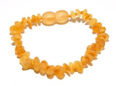 Genuine Raw Baltic Amber Baby Teething Bracelet/Anklet Honey. Authentic 14-15cm/5.5-5.9in RBB/7