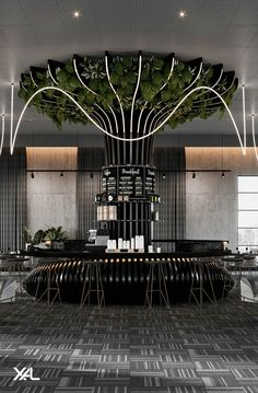 """A jungle with structure: JANE offers almost infinite possibilities to create your lighting design. Use the creative freedom to decorate ceilings and walls with dynamic waves or create an aesthetic and modern """"jumble"""". Get inspiration by this restaurant lighting fixture. There are no limits to your design ideas. #xal#seethelight#architecturallighting #interiordesign#lighting#lightingdesign#ledlighting Restaurant Lighting, Lighting Design, Your Design, Interior Design, Modern, Decor, Light Design, Nest Design, Trendy Tree"""