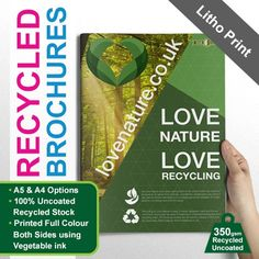 Betterprinting's recycled brochures are the perfect solution for eco friendly, vibrant coloured, superior quality brochures. Brochure Printing, Litho Print, Company Brochure, Brochures, Recycling, Graphic Design, Templates, Superior Quality, Eco Friendly