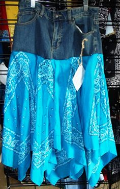 Blue Jean Bandana Skirt