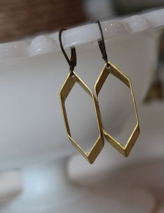 Hexagon Earrings, Geometric Jewelry, Modern Jewelry, Lightweight Minimalist Earrings, Honeycomb Jewelry, Hexagon Hoops, Dangle Earrings by outoftheblue on Etsy