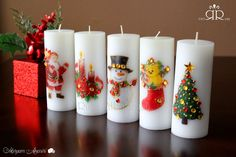 Christmas & New Year Candles by Ruaa Rose Handmade Candles, Diy Candles, Pillar Candles, Christmas Crafts For Kids, Christmas And New Year, Nail Art Videos, Balloon Decorations, Candle Making, Decoupage