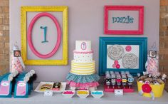 Picture Perfect 1 year old b/day party--uses neon colors and plays on the big photo booth trend