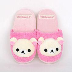 Korilakkuma Slppers rilakkuma Pink indoor house shoes Plush Slipper Toy 1pair #Fairycloset