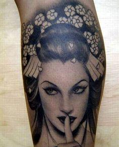 Realistic black and grey geisha tattoo design by Kat Von D