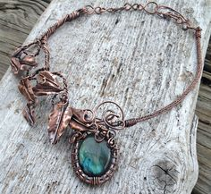 Ornate Labradorite and Antique Copper Locket by OliveEweDesigns