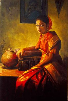 Tamil girl dress up to go out - Painting by S. Elayaraja (www.elayarajaartgallery.com)