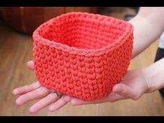 Kwadratowy koszyk ze sznurka bawełnianego na szydełku- jak zrobić. - YouTube