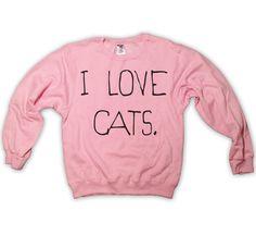 I Love Cats Sweatshirt Light Pink Kitten Kitty Catz Cat Sweater Jumper Top Clothing 023 Light Pink