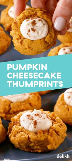 You'll Be Baking Pumpkin Cheesecake Thumbprints On Repeat This FallDelish Thanksgiving Recipes, Fall Recipes, Sweet Recipes, Holiday Recipes, Christmas Recipes, Holiday Ideas, Köstliche Desserts, Delicious Desserts, Yummy Food