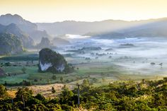Morning mist and mountain view at Phu Lang Ka in Phayao Thailand