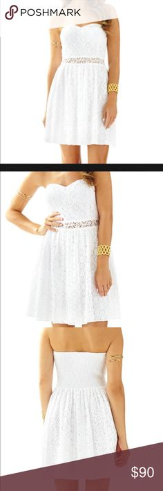 Lilly Pulitzer White Lace Dress Adorable Lilly Pulitzer Lace Brett Dress with a little bit of see through Lace around midriff. Sizes: S, XS.  NWT Lilly Pulitzer Dresses