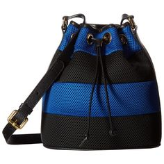 Boutique Moschino Mesh Bucket Bag (Blue/Black) Bags (10,350 EGP) ❤ liked on Polyvore featuring bags, handbags, shoulder bags, bucket bag, mesh handbag, shoulder strap bags, boutique moschino and strap purse