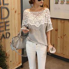 Women's Crochet Cape Collar Batwing Sleeve T-Shirt