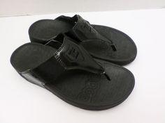 a343d371b1ba Therashoe Flip Flops Women s Size 7 Black Patent Leather Slip On Thong  Sandals  fashion