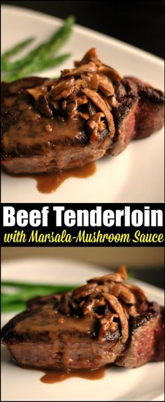 This Beef Tenderloin with Marsala Mushroom Sauce is our favorite special meal fo. - This Beef Tenderloin with Marsala Mushroom Sauce is our favorite special meal for date night in. Beef Tenderloin Steak Recipe, Perfect Beef Tenderloin, Beef Fillet, Beef Steak, Venison, Roast Beef, Stuffed Beef Tenderloin, Pot Roast, Cube Steak