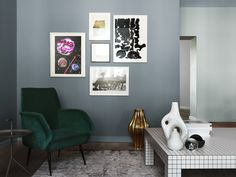 Stylish livingroom painted in different shades of blue – all from Alcro.