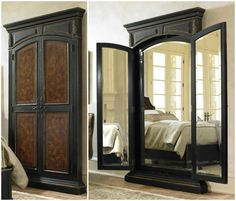 Gorgeous Doors That Open To A Large 3 Way Mirror.