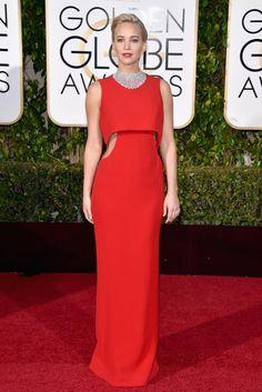 Jennifer Lawrence in red Dior dress, Golden Globes 2016