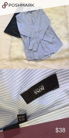 Hugo Boss button up dress shirt. 🔵 Super sharp dress shirt from Hugo Boss. Size is 15 1/2 and 34/35. Hugo Boss Shirts Dress Shirts