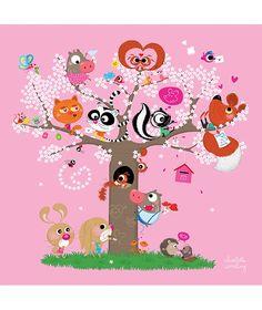 Tableau enfant animaux amoureux rose Lilipinso