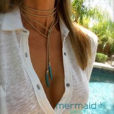 Leather or Vegan Suede Turquoise Spike Choker Necklaces~Wear many different ways>>>Makes a great gift!! FREE US Shipping Mermaid Beads Jewelry⭐️