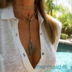 Choker Turquoise Leather Choker Vegan Suede por MermaidBeadsJewelry