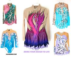 I can bring any design to life… With stunning artwork, amazing colours and loads of Bling… All my custom made garments are fully lined at the body… www.lilachelene.co.uk #acro #rg #skating #dance #tap #twirling #aerial