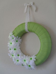 Green with white flowers