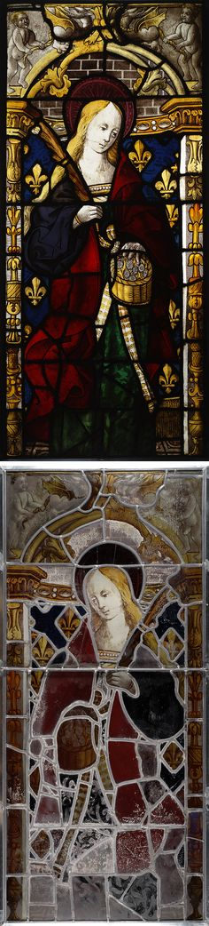 Saint Dorothy, French, about 1510-20, oxide glass and silver stain on tint glass, ruby, blue and green pot metal