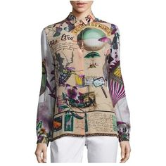 Etro Postcard Button Front Top (€640) ❤ liked on Polyvore featuring tops, beige, blouses, print blouse, silk print blouse, etro tops, silk top and beige top
