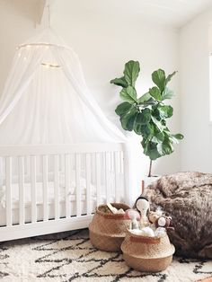 Modern, natural little girl's room