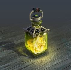 Magic bottle on Behance | A yellow bottle, potion with a tiny creature locked inside | fantasy art items and equipment | concept design art