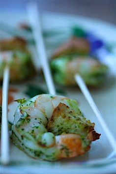 """Pesto Shrimp """"Lollipops"""": cute appetizer idea (not to mention that they look delicious!)"""