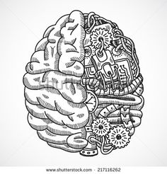 Human brain as engineering processing machine sketch concept vector illustration