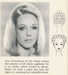 Page hairstyle with roller setting pattern.