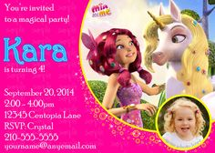 MIA AND ME PARTY - INVITATION - MIA and ME inspired  Photo Invitation, by JustAddFrosting on Etsy, $6.00