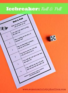 Small groups Icebreaker: Roll & Poll Free Printable - Quick and easy icebreaker for any womens ministry event. 3 free versions for you to choose from. Icebreaker Activities, Group Activities, Group Games, Abc Games, Youth Games, Drama Games, Leadership Activities, Womens Ministry Events, Youth Ministry