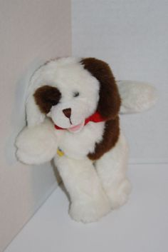 "Build A Bear Plush Dog White Brown Patches RARE Mini 6"" stuffed animal Magnet #BuildABear"