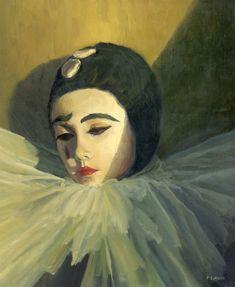 Tableau - Peinture : Pierrot - Huile sur Toile - 55 x 46 cm (10F) Pascal Giroud / Fantastic!