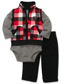 Carter's Baby Set, Baby Boys 3-Piece Plaid Vest, Bodysuit and Pants - Kids Baby Boy (0-24 months) - Macy's