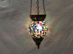 Moroccan lantern mosaic hanging lamp glass chandelier light lampen candle n 004 #Handmade #Moroccan