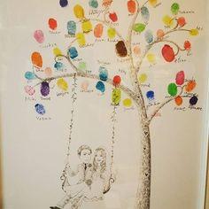 ウエディングツリーも皆の指紋で完成カラフルな木になりました✨✨ #ウエディング#結婚式#披露宴 #アニヴェルセル#ウェルカムスペース #ウエディングツリー#カラフル #指紋アート#記念#ツリー#似顔絵